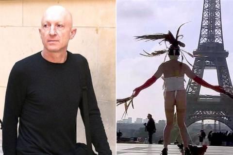 Χόρευε στον Πύργο του Άιφελ με έναν κόκορα δεμένο στα… (video+photos)