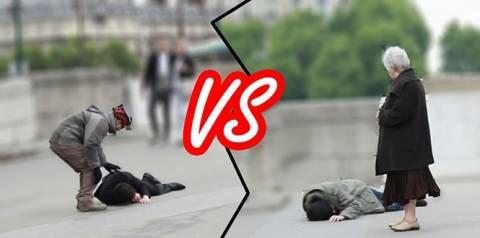 Ένας άστεγος και ένας πλούσιος λιποθυμούν στο δρόμο: Πώς αντιδρούν οι περαστικοί; (vid)
