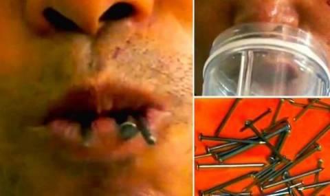Κινέζος τρώει καρφιά, σπασμένα γυαλιά και πορσελάνη! (video)