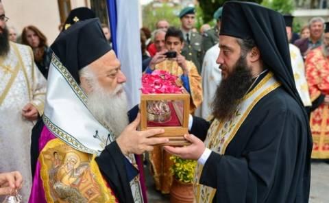 Υποδοχή ιερών λειψάνων του Αγ. Νεκταρίου στη Νάουσα