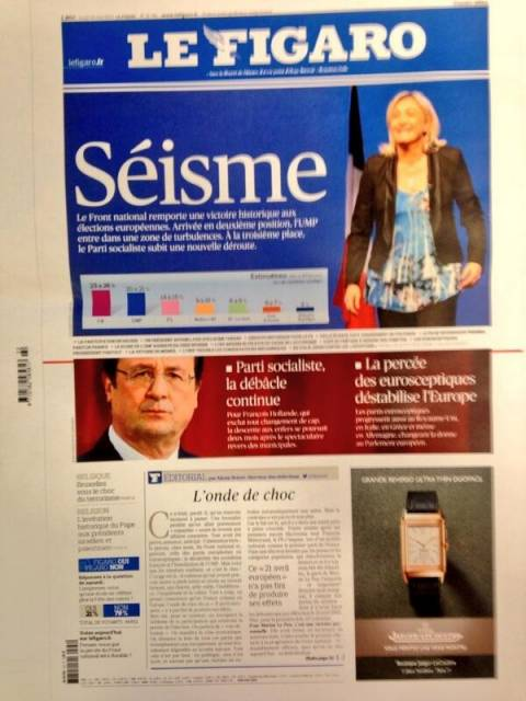 Ευρωεκλογές 2014: Le Figaro - «Σεισμός» η επικράτηση της Λεπέν
