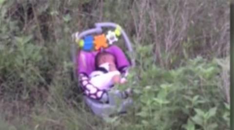 Βρήκε σε θάμνο ένα μωρό πάνω σε... (pics+video)