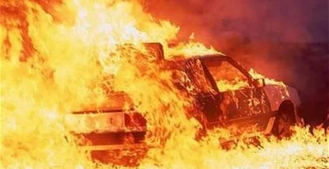 Αυτοκίνητο τυλίχθηκε στις φλόγες στην Εθνική οδό Ρεθύμνου - Ηρακλείου