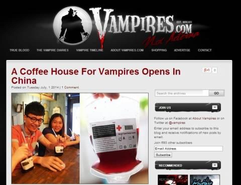Καφέ για βαμπίρ σερβίρει... αίμα στους πελάτες! (pics)