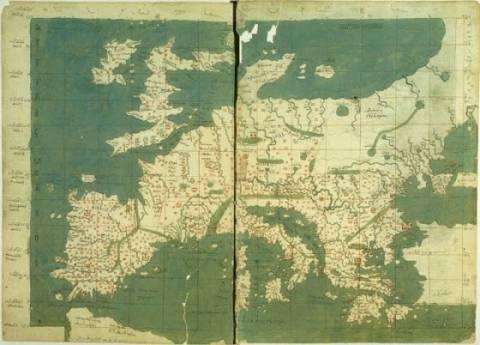 Σπάνιος ελληνικός χάρτης της Ευρώπης του 15ου αιώνα