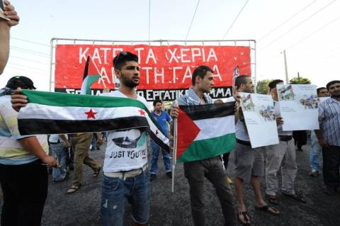Συγκέντρωση διαμαρτυρίας κατά των ισραηλινών βομβαρδισμών (pics)
