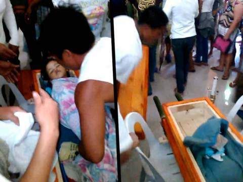 ΣΟΚ: Μωρό ξυπνάει την ώρα της κηδείας του! (pics+video)