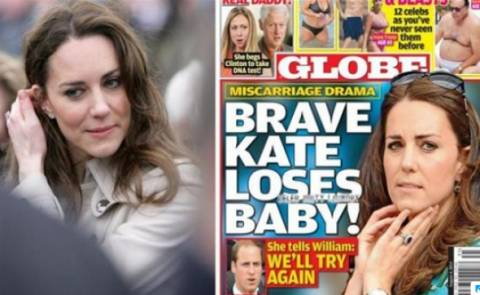 Globe: «Απέβαλε η Κέιτ Μίντλετον»
