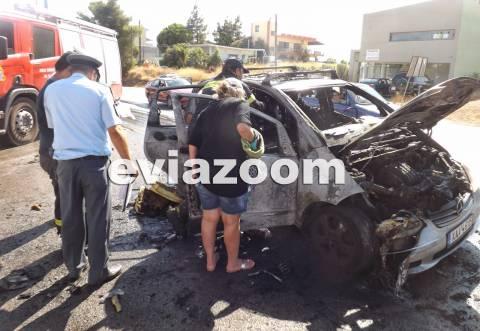 Χαλκίδα: Αυτοκίνητο εν κινήσει τυλίχτηκε στις φλόγες (pics-vid)
