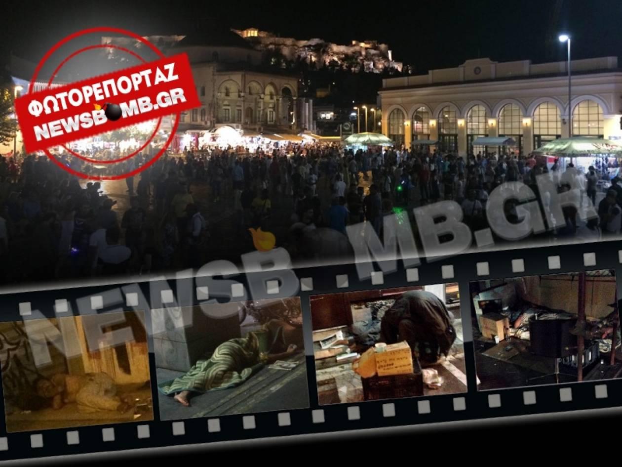 Άστεγοι μία Κυριακή βράδυ στο Μοναστηράκι