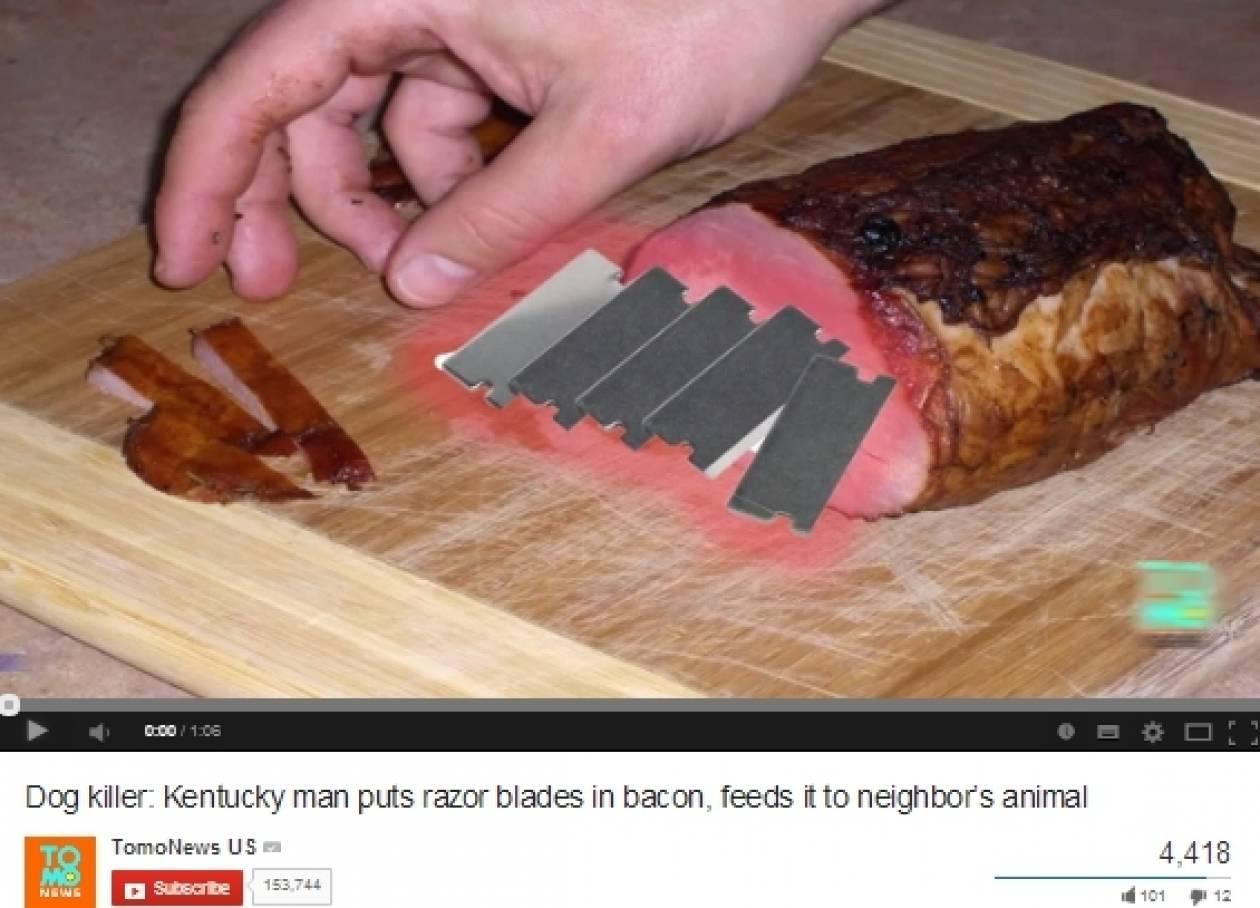 Εν ψυχρώ δολοφόνος! Έβαλε ξυράφια σε φαγητό σκύλου! (βίντεο)