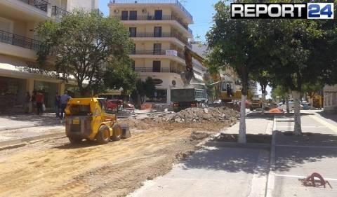 Σπάρτη: Ξεκίνησαν και πάλι οι εργασίες στη Λεωνίδου