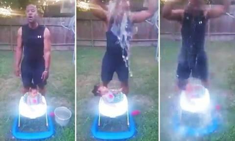 Παππούς έβαλε το 10 μηνών εγγόνι του να κάνει Ice Bucket Challenge! (pics+video)