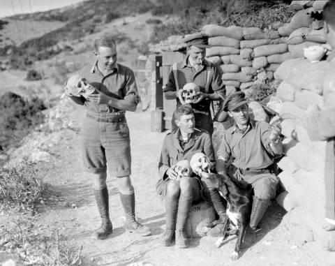 English soldiers at the Lion of Amphipolis