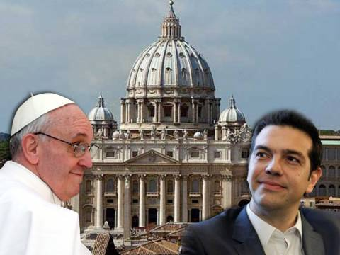 Ένα στεφάνι ελιάς δώρισε ο Τσίπρας στον πάπα Φραγκίσκο