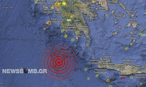 Ισχυρός σεισμός νότια της Πελοποννήσου