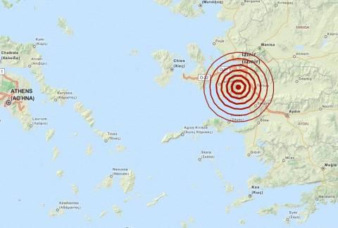 Σεισμός 4,1 Ρίχτερ νότια της Σμύρνης