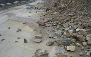 Μικροκατολισθήσεις λόγω βροχής κοντά στο Φόδελε Ηρακλείου