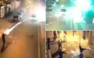 Περιπολικό δέχθηκε επίθεση με… πυροτεχνήματα!