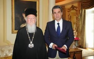 Συνάντηση Λοβέρδου με τον Οικουμενικό Πατριάρχη Βαρθολομαίο