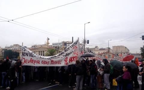 Student march in downtown Athens