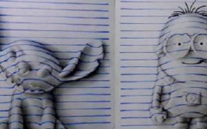 Τρισδιάστατα σκίτσα σε μια λευκή κόλλα χαρτί!