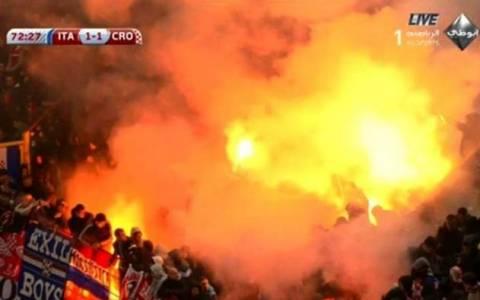 Ιταλία – Κροατία: Διακοπή λόγω… φωτοβολίδων! (videos)