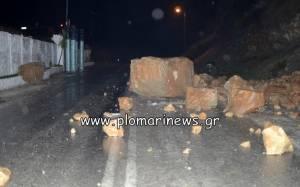 Νέα κατολίσθηση στο δρόμο Πλωμαρίου - Μελίντας Λέσβου (Pics)