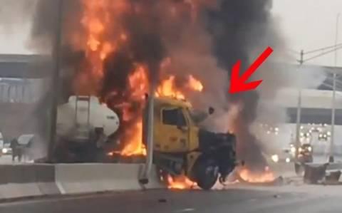 ΗΠΑ: Οδηγός δραπετεύει από φλεγόμενο αυτοκίνητο