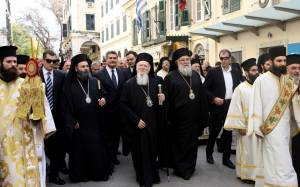 Ο Οικουμενικός Πατριάρχης στον Αγ. Σπυρίδωνα στη Κέρκυρα