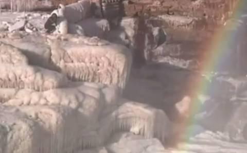 Οι παγωμένοι καταρράκτες του Κίτρινου Ποταμού (video)