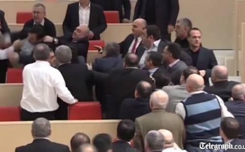 Γεωργία: Ξύλο και… γαλλικά στο κοινοβούλιο! (video)