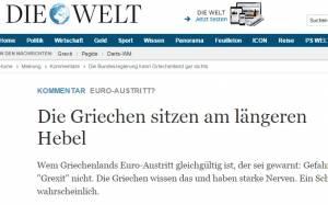 Welt: Ενδεχόμενο «Grexit» δε θα ήταν ακίνδυνο