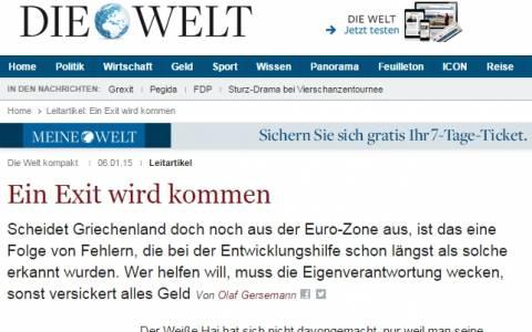 Την τρομολαγνική ρητορική του Βερολίνου συνεχίζει η Welt