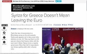 Εκλογές 2015: ΣΥΡΙΖΑ στην Ελλάδα δεν σημαίνει έξοδο από το ευρώ, λέει το Bloomberg