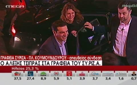 Αποτελέσματα εκλογών 2015: Πανηγυρική άφιξη Τσίπρα στην Κουμουνδούρου (vid)