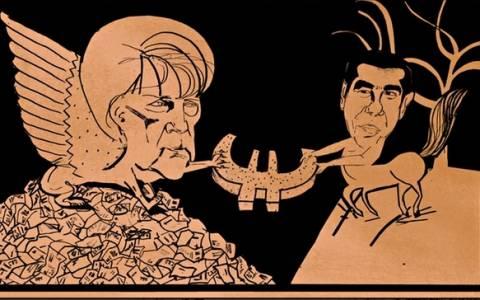 Η Σφίγγα Μέρκελ παλεύει με τον Κένταυρο Τσίπρα σε σκίτσο της Guardian
