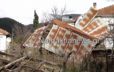 Ναυπακτία: Ο δυνατός άνεμος ξερίζωσε ακόμα και στέγες (vid)