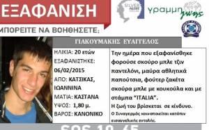 Ιωάννινα: Θρίλερ με τον 20χρονο φοιτητή που εξαφανίστηκε