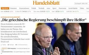 Handelsblatt: «Η ελληνική κυβέρνηση εκμεταλλεύεται τους πιστωτές της»