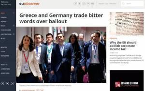 Eurobserver: Ελλάδα και Γερμανία ανταλλάσσουν πικρά λόγια για τη διαπραγμάτευση
