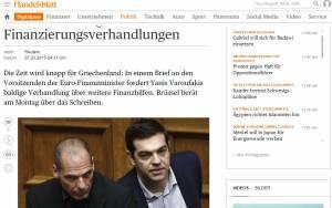 Ηandelsblatt: Ο Βαρουφάκης ζητά άμεση διαπραγμάτευση για χρηματοδότηση