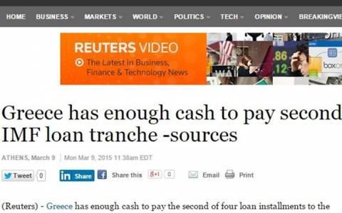 Reuters: Η Ελλάδα μπορεί να αποπληρώσει και τη δεύτερη δόση του δανείου στο ΔΝΤ