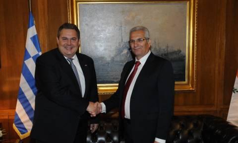 Συνάντηση Καμμένου με τον γενικό γραμματέα του ΑΚΕΛ, Άντρο Κυπριανού