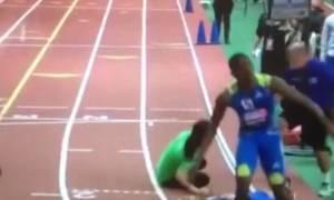 Αθλητής του στίβου τερματίζει... πάνω σε κοπέλα (video)
