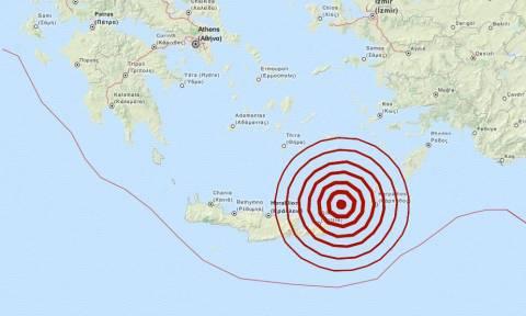 Σεισμός 5,4 Ρίχτερ μεταξύ Καρπάθου και Κρήτης
