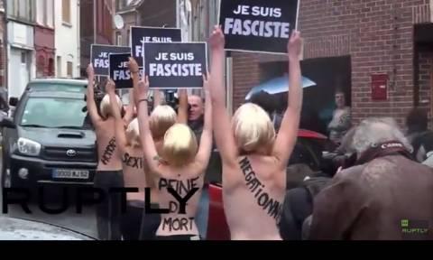Γυμνόστηθη διαμαρτυρία: Femen εναντίον Μαρίν Λεπέν (video)