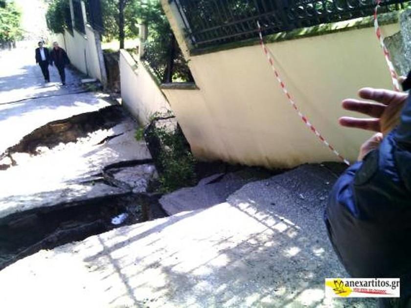 Σέρρες: Ρήγματα από τις πλημμύρες στην πόλη (photos)