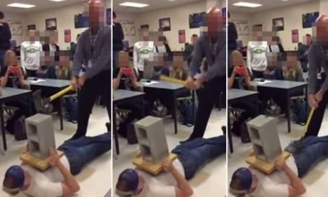 Αποκρουστικό βίντεο: Καθηγητής χτυπά μαθητή στα γεννητικά όργανα με… τσεκούρι!