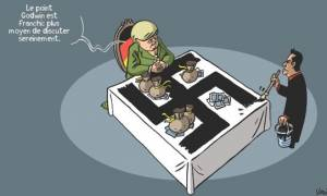Σκίτσο της Liberation: Ο Τσίπρας ζωγραφίζει σβάστικα στο γραφείο της Μέρκελ
